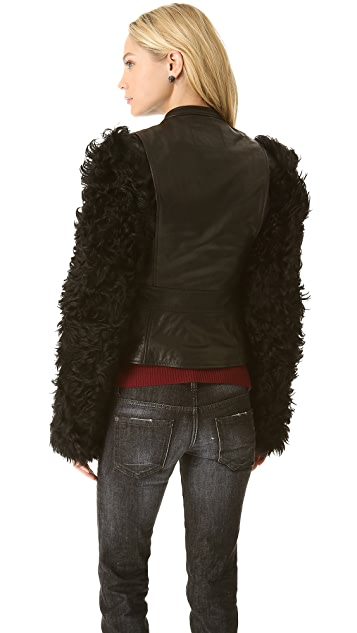 McQ - Alexander McQueen Leather Jacket with Fur Sleeves