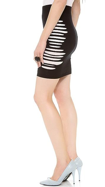 McQ - Alexander McQueen Slashed Knit Skirt