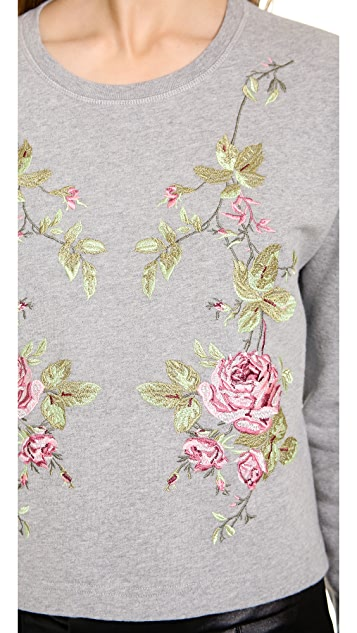 McQ - Alexander McQueen Embroidered Ribless Sweatshirt