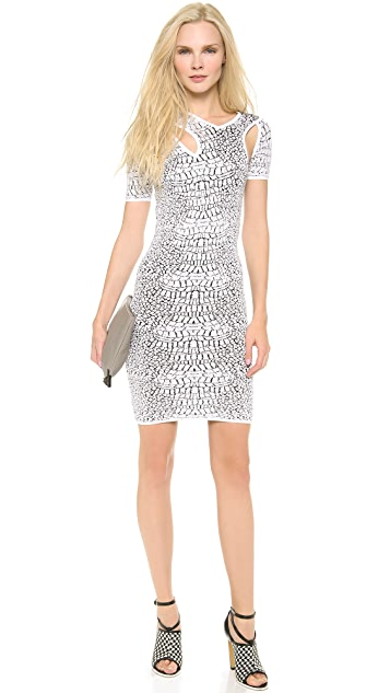 McQ - Alexander McQueen Crocodile Flirty Body Con Dress