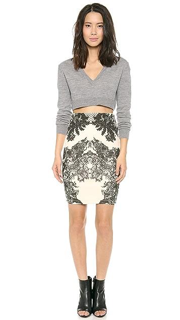McQ - Alexander McQueen Contour Lace Print Skirt