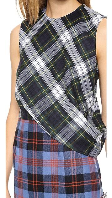 McQ - Alexander McQueen Drape Top Plaid Dress