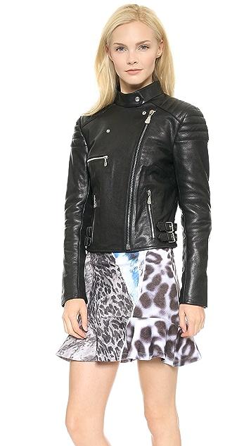 McQ - Alexander McQueen Cropped Leather Biker Jacket