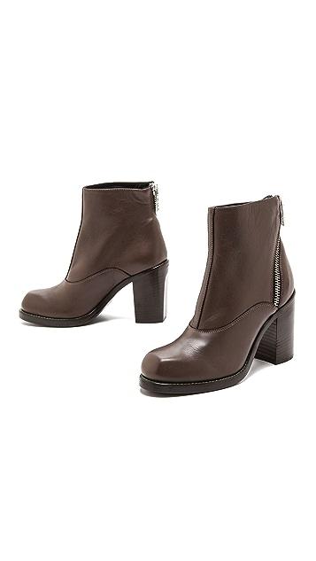 McQ - Alexander McQueen Nazrul Curved Zip Ankle Booties