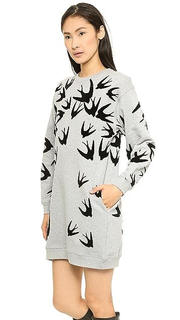McQ - Alexander McQueen Flock Sweatshirt Dress