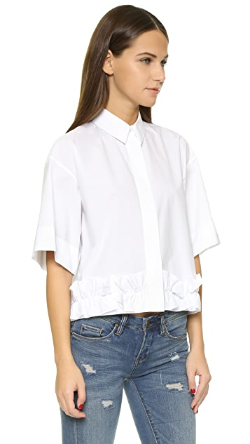 McQ - Alexander McQueen Cropped Ruffle Shirt