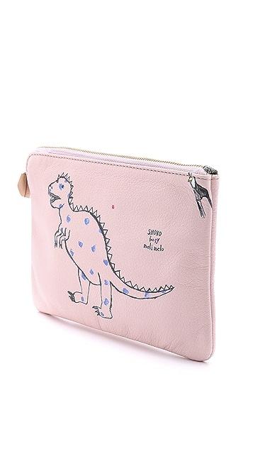 meli melo Dinosaur Printed Clutch