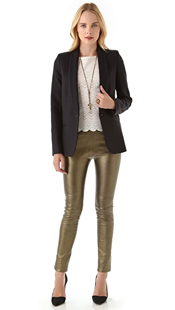 Mes Demoiselles Esther Metallic Leather Pants