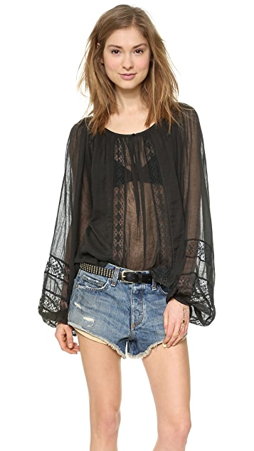 Mes Demoiselles Irene Embroidered Peasant Top