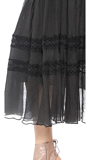 Mes Demoiselles Isabella Embroidered Maxi Skirt