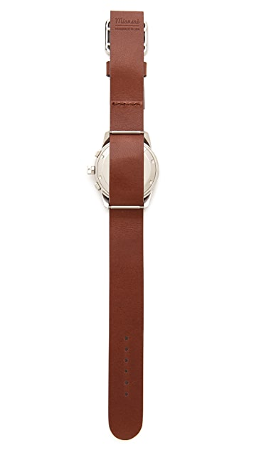 Miansai M2 White Watch with Brown Leather Band