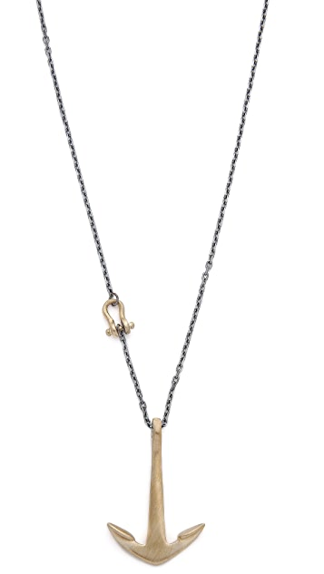 Miansai Tumbled Brass Anchor Necklace