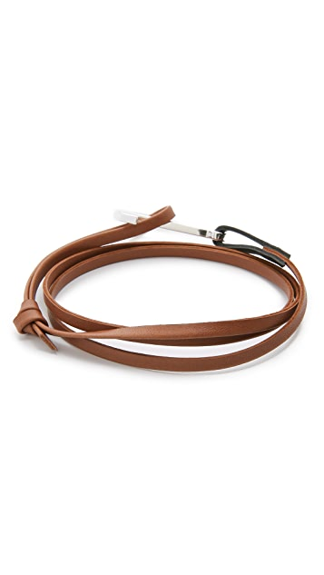 Miansai Modern Anchor Two Tone Leather Wrap Bracelet