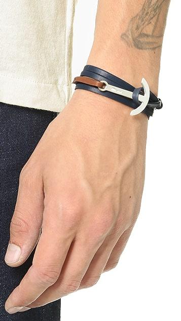 Miansai Modern Anchor Two Tone Leather Wrap Bracelet