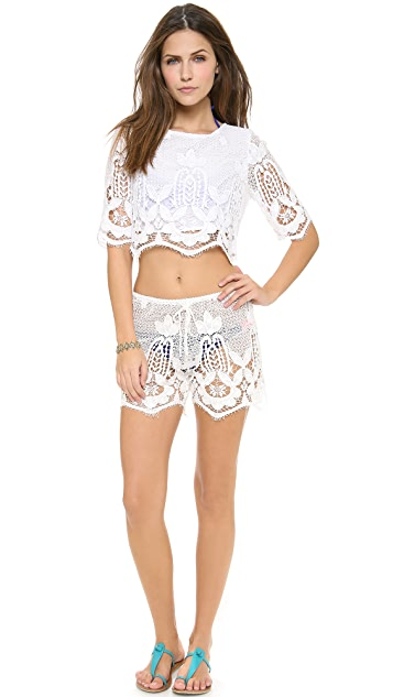 Miguelina Lou Scalloped Lace Cover Up Top