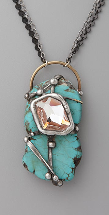 Mikal Winn Wrapped Turquoise Pendant Necklace