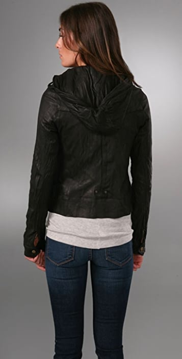 Mike & Chris Basil Leather Jacket with Hood
