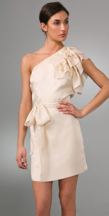 Milly One Shoulder Ruffle Dress