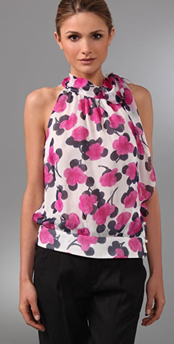 Milly Louisa Bow Floral Top