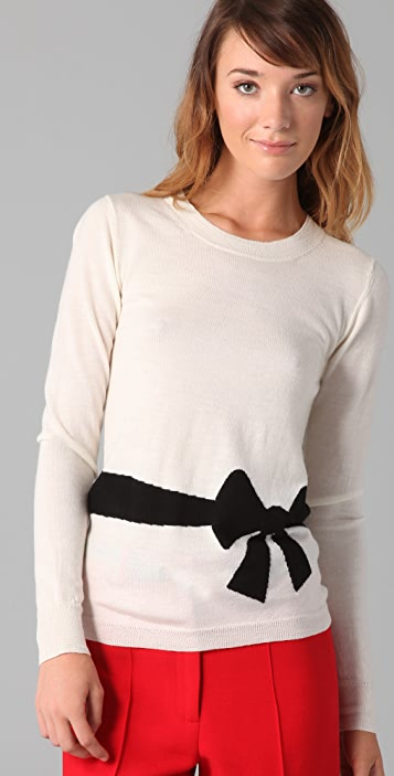 Milly Trompe l'Oeil Bow Sweater