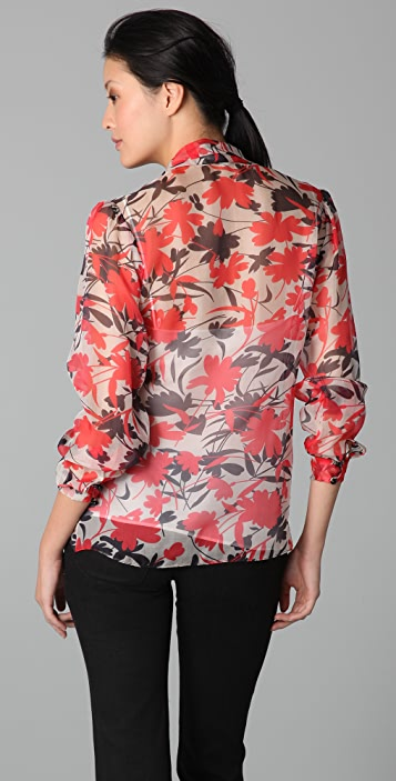Milly Marian Print Tie Blouse