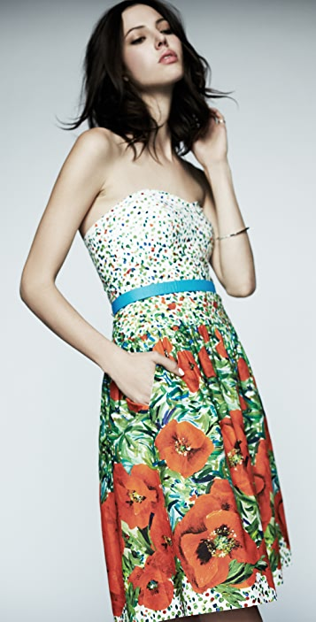 Milly Annabelle Strapless Floral Dress