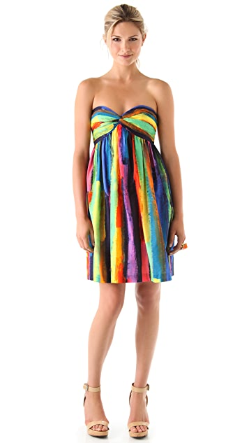 Milly Watercolor Stripe Strapless Dress