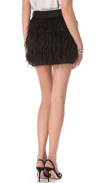 Milly Ostrich Fringe Miniskirt