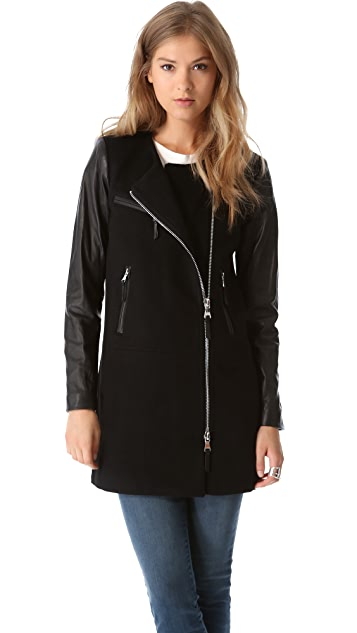 Milly Chloe Leather Sleeve Coat