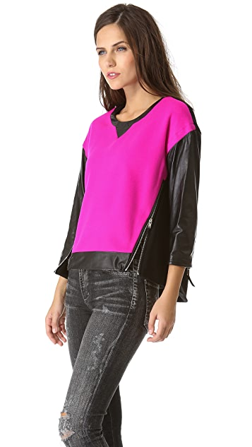 Milly Nora Leather Sleeve Pullover
