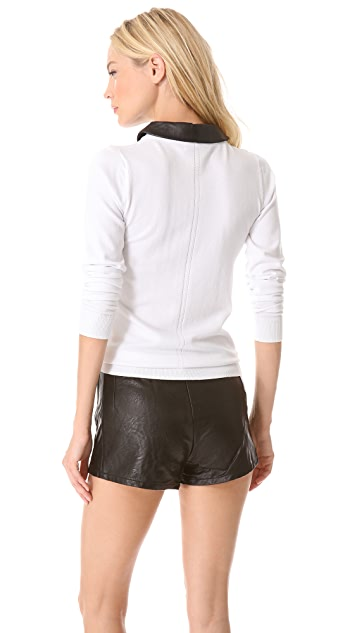 Milly Leather Collar Sweater