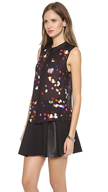 Milly Sleeveless Leather Collar Top