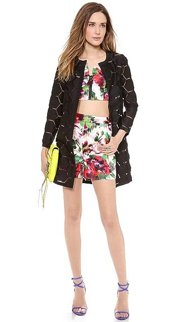 Milly Floral Print Zip Bustier Top