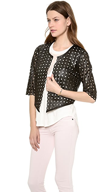 Milly Perforated Leather 3/4 Sleeve Jacket