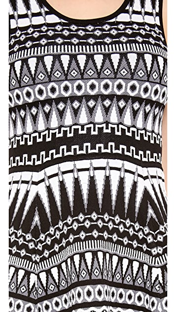 Milly Graphic Jacquard Flare Dress