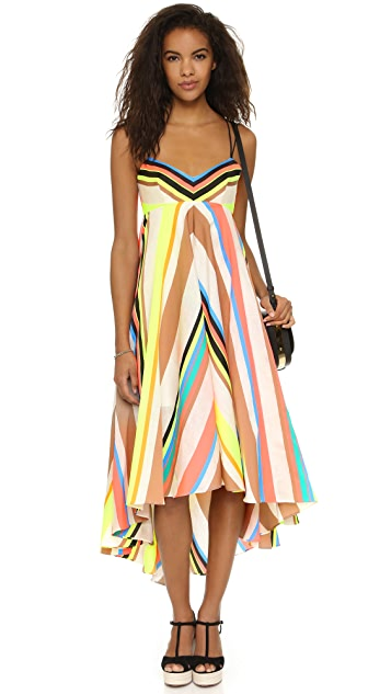 Milly Stripe Mitered Trapeze Dress