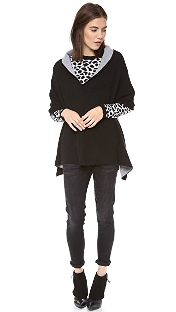 Minnie Rose Cashmere Reversible Ruana Poncho