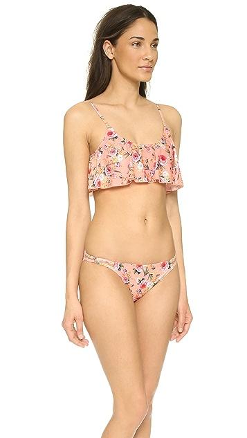 MINKPINK Peachy Bloom Frill Bikini Top