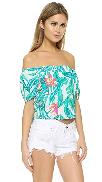 MINKPINK Panama Palms Peasant Beach Top