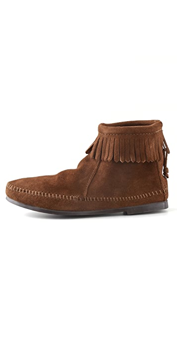 Minnetonka Back Zipper Booties with Fringe