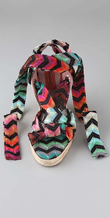 Missoni Zigzag Espadrille Sandals with Ankle Wrap