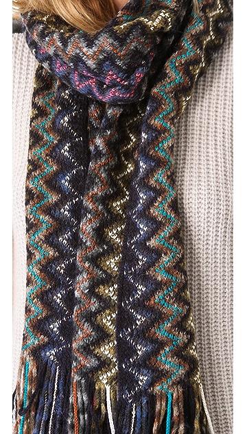 Missoni Thick Knit Zigzag Fringe Scarf