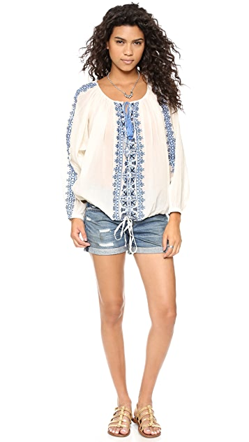 Miss June Embroidered Cover Up Blouse