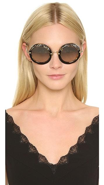 Miu Miu Round Crystal Sunglasses