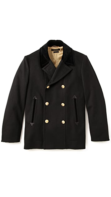 Marc Jacobs Velvet Collar Pea Coat