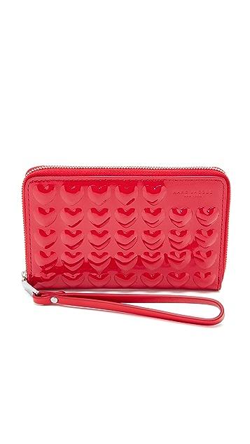 Marc Jacobs Embossed Hearts Zip Wristlet
