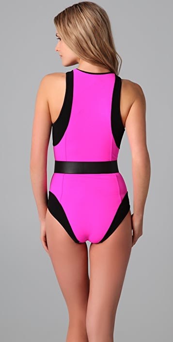 Michael Kors Collection Colorblock Zip Up Maillot with Belt