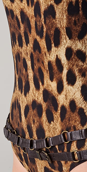 Michael Kors Collection Singita Leopard Belted Maillot