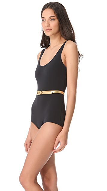 Michael Kors Collection Sun Deck Solids Belted Maillot