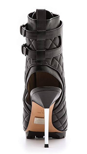 Michael Kors Collection Teagan Quilted Peep Toe Booties